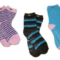 RSG Hosiery Women`s & Teens Fuzzy Anti-Slip Grip Socks (Shoe Size 5-10; Sock Size 9-11) Assorted Colors