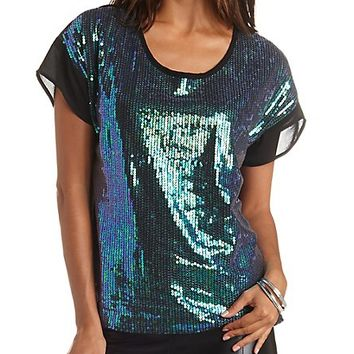 Sequin & Chiffon Top by Charlotte Russe - Olive