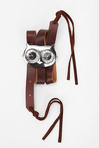 Owl Leather & Suede Wrap Watch