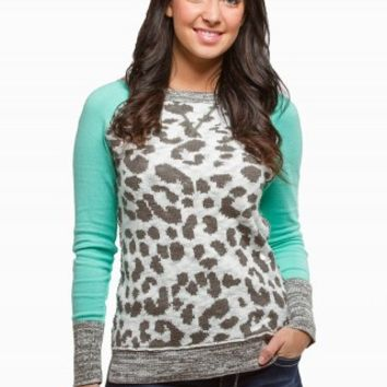 LEOPARD BASEBALL SWEATER