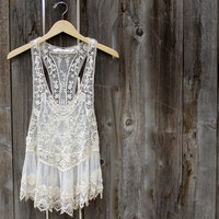 Ophelia lacy dress tank - med/lrg / natural