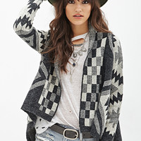 FOREVER 21 Southwestern-Inspired Cardigan Charcoal/Cream