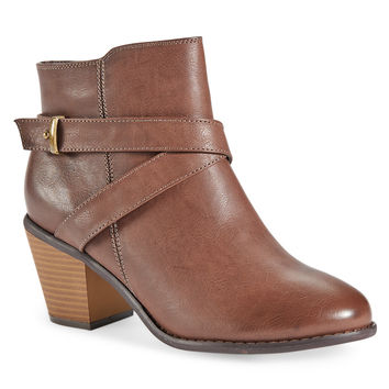 Aeropostale Strappy Faux Leather Bootie - Dark Brown,