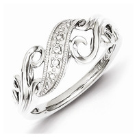 Sterling Silver and Diamond Swirl Ring - Default Title /