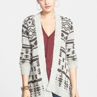 Woven Heart Shawl Collar Open Cardigan (Juniors)