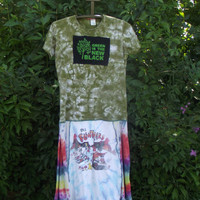 Flintstoners Recycled T shirt Dress Medium Large Tie Dye  Green Cool Boho Bohemian Upcycled Clothing  Patchwork Hippie Handmade Doobie