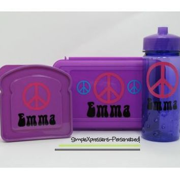 Personalized sandwich box, pencil box and water bottle set from SimpleXpressions-Personalized!