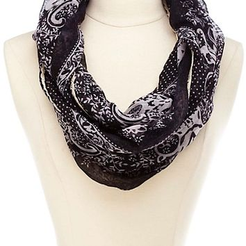 Lace Trim Floral Print Infinity Scarf - Black Combo