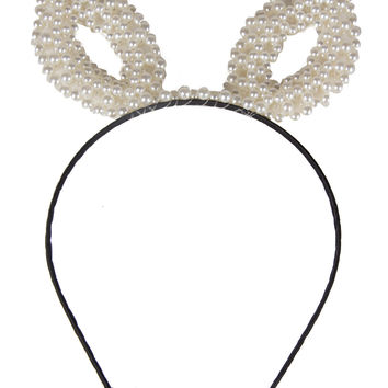 Pearl Beaded Ears Hairband - Cream - Cream / One