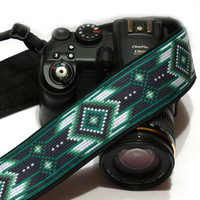 Native American Camera Strap, Inspired. Tribal Camera Strap, Southwestern, Black Green Camera Strap, Camera  Accessories