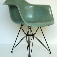 Vintage Eames for Herman Miller (Zenith) Seafoam Green DAR Eiffel Armshell Dining Chair *Rare, All Original*