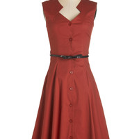 ModCloth Long Sleeveless A-line Knack for Numbers Dress in Auburn