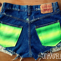 High Waisted Shorts, Levis, Ethnic Tribal Pockets (Size MEDIUM to LARGE)