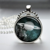 Round Glass Pendant Bezel Pendant Planet Pendant Planet Necklace Photo Pendant Art Pendant With Silver Ball Chain (A3648)