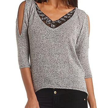 Beaded Cold Shoulder Top by Charlotte Russe - Black Combo