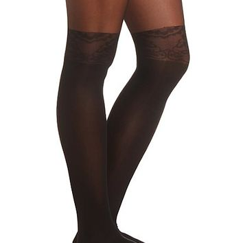 Floral Thigh-High Illusion Tights by Charlotte Russe - Black