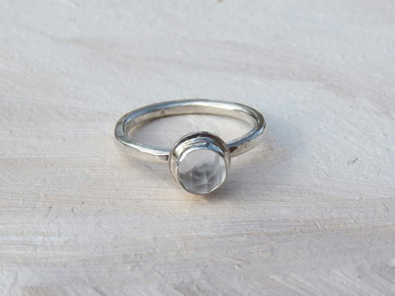 rose cut white topaz ring- bezel set ring- simple ring- rose cut stone - gemstone