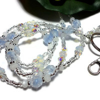 Beaded Lanyard Sky Blue Vintage Glass Beads Moonstone Silver Handmade Fashion Jewelry with Angel Strong Magnetic Breakaway