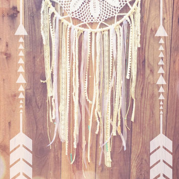 White, Gold, Amethyst, & Turquoise Shabby Chic Boho Crochet Doily Lace Beaded Dreamcatcher