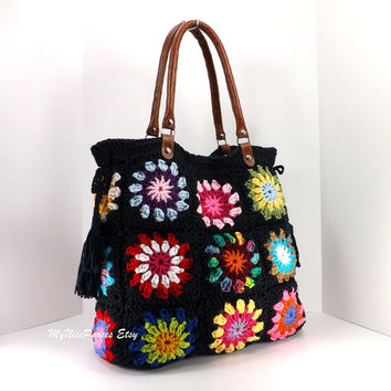 Crochet granny squares handbag with tassels and genuine leather handles