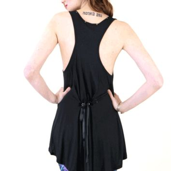Semi-sheer flare tank top featuring round neckline, thanks the studded detailing giving an edgy look, sleeveless, racerback, high and low hemline, adjustable lace up back for better fit.