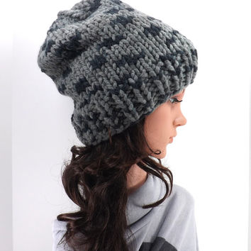 Knitted Chunky Slouchy Hat /RAVEN/, Unisex Knitted Slouchy Beanie, Fall/Winter Hat, Fashion Accessory 2014