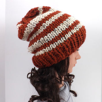 Knitted Chunky Slouchy Striped Beanie Hat /SPICE/, Unisex Knitted Slouchy Beanie, Fall/Winter Hat, Fashion Accessory 2014