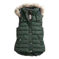 FINEJO® Ladies Sleeveless Faux Fox Fur Hooded Quilted Gilet Vest Bodywarmer Jacket