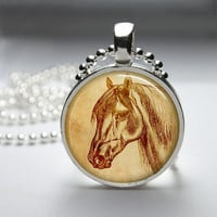 Round Glass Pendant Bezel Pendant Horse Pendant Horse Necklace Photo Pendant Art Pendant With Silver Ball Chain (A3898)