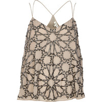 Grey embellished strappy cami - cami / sleeveless tops - tops - women
