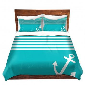 DiaNoche Designs Unique Decorative Designer Duvet Covers and Shams | Organic Saturation's Teal Love Anchor Nautical