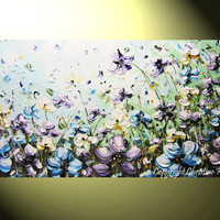 "ORIGINAL Art Abstract Painting Flowers Blue Lavender Poppies White Green Modern Palette Knife Textured Floral Wall Decor 24x48"" -Christine"
