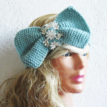 Knitted Bow Headband, Wide Bow Ear Warmer, Women's Fashion Accessory, Fall Headband, Best Seller, Knotted Bow Headband in Mint