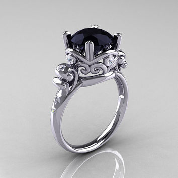 Modern Vintage 14K White Gold 2.5 Carat Black Onyx Wedding, Engagement Ring R167-14KWGDBO