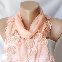 SALE % 20 - Was 15 Now 12-Coral, light orange Cotton Scarf with Lace