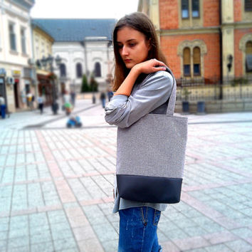 Tote Bag - Leather Bag - Handbag - Canvas bag