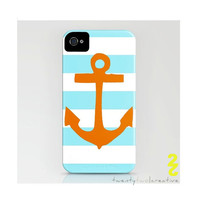 Orange Anchor Iphone Barely there case