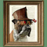 "Bulldog Art Print Steampunk Dog ""The Marquis De Butch"" illustration beautifully upcycled dictionary page book art print"
