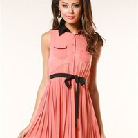 A'GACI Pleated Button Front Shirt Dress - Dresses