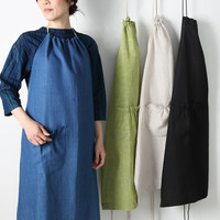 Boxwood Linen Halter Aprons : MARCH