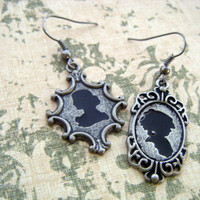 Silhouette Earrings, Vintage Style Earrings, Black and Silver Earrings