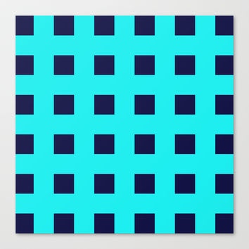 Cross Squares Navy Turquoise Canvas Print by Beautiful Homes