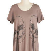 ModCloth Skulls Mid-length Short Sleeves Put Our Heads Together Tee