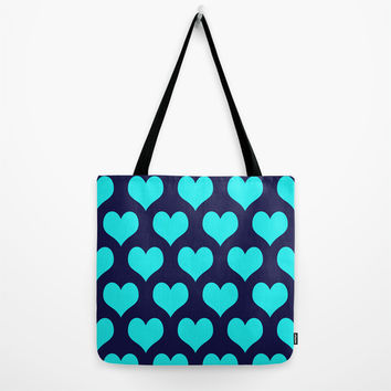 Hearts of Love Navy Turquoise Tote Bag by Beautiful Homes