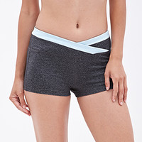 FOREVER 21 Heathered Crossover-Waist Shorts Charcoal/Blue
