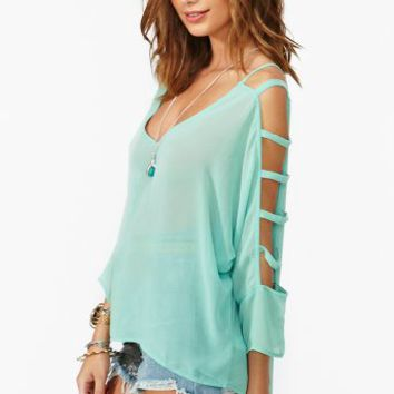 Dolman Cutout Top - Mint