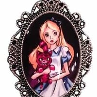 Alkemie Apparel - Cameo Necklace - Alice and Cheshire Cat
