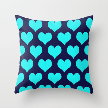 Hearts of Love Navy Turquoise Throw Pillow by Beautiful Homes