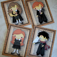 HARRY POTTER and friends - 5x7 prints - Set of 4 - Whimsical and Delightful - Wall Art - PQ 84