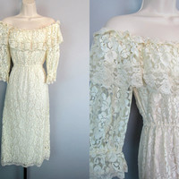 Vintage 80s GUNNE SAX Sheer Lace Peasant Ruffle Off Shoulder Boho Midi Dress Scott McClintock